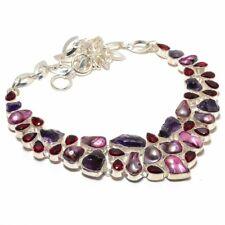 """Amethyst Rough With Biwa Pearl, Garnet Gemstone Silver Jewelry Necklace 18"""" 8723"""