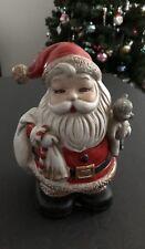 "Vintage Homco 6"" Tall Ceramic Santa Clause Christmas Coin Bank W/ Stopper - Nice"