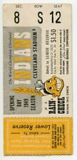 April 22, 1949 Cleveland Indians vs. Detroit Tigers, Opening Day Baseball Ticket