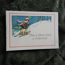 Vintage Christmas Card Unmarked USA 1920's Era, Unsigned Happy Child, Snowshoes