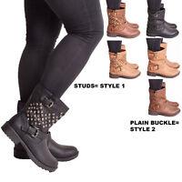 New Ladies Womens Ankle Boots Studded Biker Low Heel Zip Buckle Casual Shoe Size