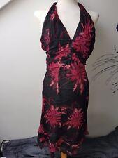 UK8 KAREN MILLEN Sexy Silk Floral Halterneck Fashion Fest Party Cocktail Dress
