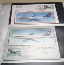 2 FDC TIMBRE 1er Jour AIRBUS A300 B 1973 Aviation Carte Maximum