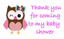 42 Large Personalised Labels / Address /Baby Shower Pink owl (Stickers)