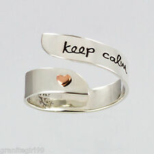 Keep Calm And Smile Adjustable Ring Far Fetched 925 Sterling Silver Artisan
