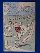 """ILLUSTRATA LION G. bimbi su cavallo a dondolo children viaggiata """"900 #14655"""