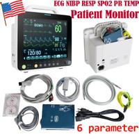 """FDA Portable 12"""" 6 Paras Vital Signs Patient Monitor ECG NIBP RESP SPO2 PR TEMP"""
