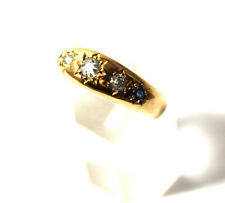 Antique Victorian 18ct Gold 1/3 Carat Diamond & Sapphire Ring England 1892