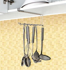 Kitchen Rack Hanger Hook Clip 12 Hooks Utensil Stainless Tool Steel Organizer