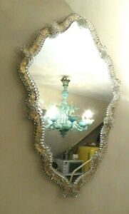 LARGE VINTAGE VENETIAN GLASS MURANO WALL MIRROR MID CENTURY ITALY GOLD