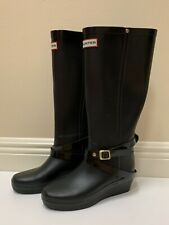 Hunter Black Adora Rubber Platform Wedge Rain Boots Shoes Size 5