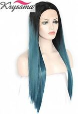 K'ryssma Fashion Blue Ombre Wigs Black Roots Straight Long Synthetci Lace Front