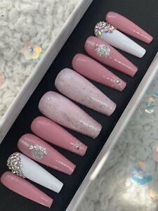 Custom made press on nails Long Coffin Pink Glitter Christmas Xmas
