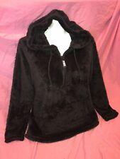 Victoria Secret Pink Sherpa Teddy half-zip Pullover Hoodie Black NWT L XL ❤️