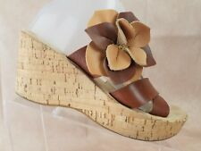 638e45fef Kork Ease Korks Wedge Sandal Size 8 Womens Brown Leather Floral Shoe