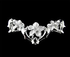 SOLID 925 STERLING SILVER HAWAIIAN 4 DOLPHIN 3 PLUMERIA SLIDE PENDANT