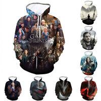 Game of Thrones 3D Hoodie Jon Snow Khaleesi Sweatshirt Pullover Coat Hooded Tops