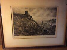 Print Of Heidelberg Etching View Drawing Castle Bridge Antique 1930s