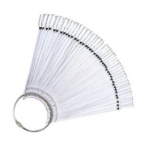 50Pcs False Display Nail Art Fan Wheel Polish Practice Pop Tips Sticks Tools VM
