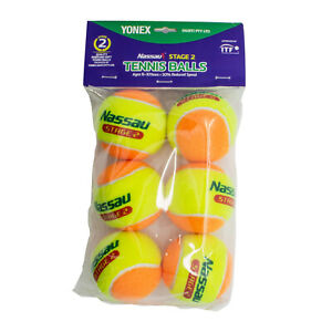 6x NASSAU Beginner Kids Low Compression Stage 2 Soft Tennis Balls ITF Approved