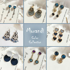 Morandi Bohemian Rhinestone Earrings Blue Grey Dangle Tassel Women Girls Jewelry
