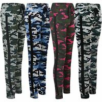 Ladies Camouflage Tracksuit Trousers Jogging Sweatpants Cuffed Bottoms Size S-XL