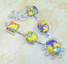 Arcoiris Mosaico Jaspe 100 % PURE plata de ley 925 Collar 48.3cm x35927
