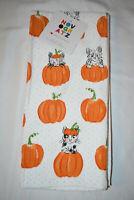 NOVOGRATZ HALLOWEEN CAT KITTY PUMPKIN DESIGN SET OF 2 KITCHEN DISH TOWELS NWT