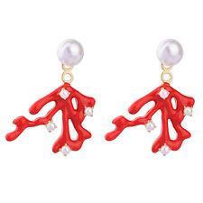 Boucles d'Oreilles Clous Doré Chandelier Branche Corail Email Rouge Retro AA19