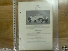 MG2-MG TYPE TD 1950-1951 TECHNICAL INFO CLASSIC CAR OLDTIMER