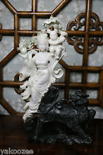 Chinese Jade Statue of Guanyin with a Child and  a Buddhist Lion #20140001