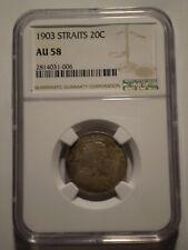 SBM4 Straits Settlements Edward VII 1903 silver 20 cents NGC AU58