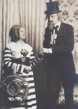 1910s REAL PHOTO POSTCARD COUPLE IN UNIQUE COSTUMES PLAY? VAUDEVILLE?
