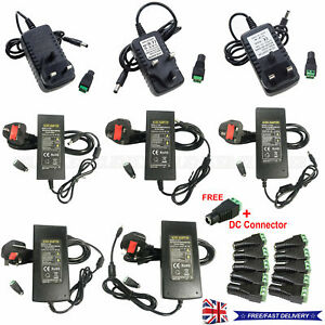UK Stock Power Supply Adapter AC To DC 12V 2A 3A 5A 6A 8A 10A LED Light Strip
