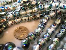 ONE HUNDRED FIFTY  (150) AQUA, SILVER FOIL & MULTI Lampwork Glass Beads 10MM