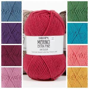 Drops 100% Merino Extra Fine Double Knitting Wool Superwashed DK Yarn ! SALE!