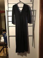 1970's black maxi dress vintage boho angel sleeve ankle length