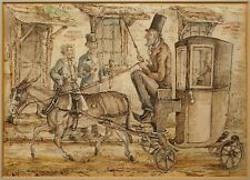 More details for a donkey carriage | interesting 19th century victorian ink & watercolour drawing