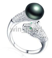 9-10mm Black freshwater Cultured pearl  S925 Sterling Silver leopard Rings