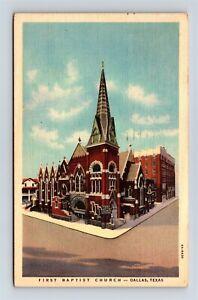 Postcard TX Dallas Texas First Baptist Church c1936 Vintage Linen AB19
