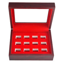 12 Ring Holder Box for Championship Ring Storage Showcase with Glass Lid