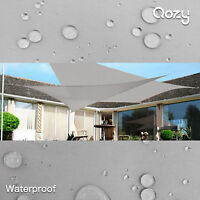 Qozy Waterproof Sun shade sail patio pool garden Square Rectangle Triangle Grey