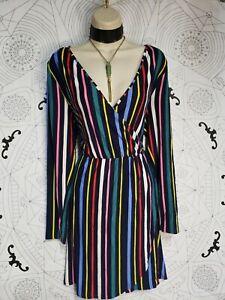 NWT Derek Heart XL Striped multicolored wrap Dress