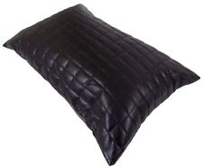 SUPERB FAUX LEATHER PADDED SOFT BLACK SQUARES CUSHION COVER 35 X 50CM