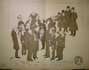 HARRY GRANDE Litho XX CARICATURE HOMMES BOURGEOISIE BELLE EPOQUE dlg SEM 1920