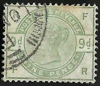 1884 QV SG195 9d Dull Green FR Very Fine Used CV £480