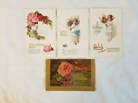 Vintage Early 1900's Happy Birthday Postcard Greeting Card Lot (4)