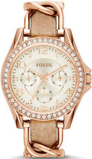 Women's Rose Gold Fossil Riley Multi-function Glitz Watch ES3466