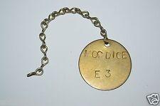 "WOW Nice Vintage Brass Tool Check Tag ""MCCDICE"" E3 Name Plate Rare"
