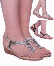 Women's Ladies Flat Dimonted Sandals Sling Back Summer Flip Flops Open Toe Shoes